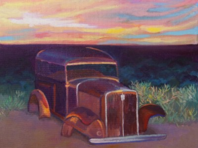 Old Car in Sunset by Anne Block