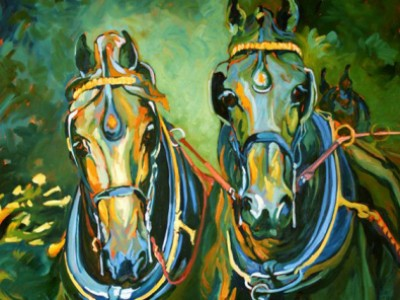 Friesians, four in hand by Gail Dee Guirreri Maslyk