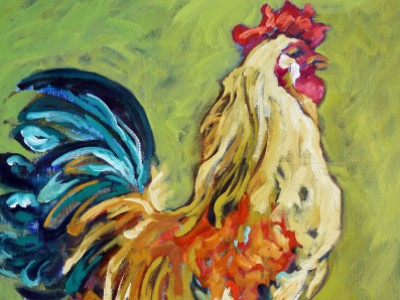 Rooster Study in Orange and Green