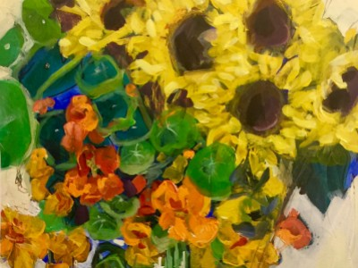 Sunflowers and Nasturtiums by Marci Nadler
