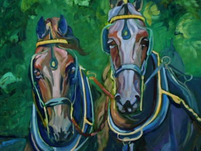 Friesians Four in Hand, II by Gail Dee Guirreri Maslyk