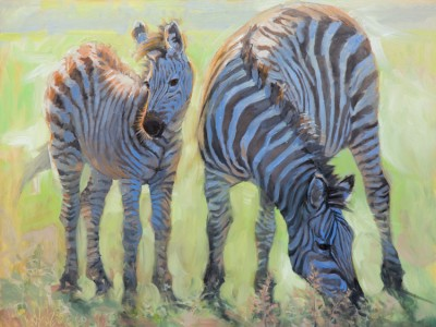 Mom and Baby Zebra by Jean   Grunewald