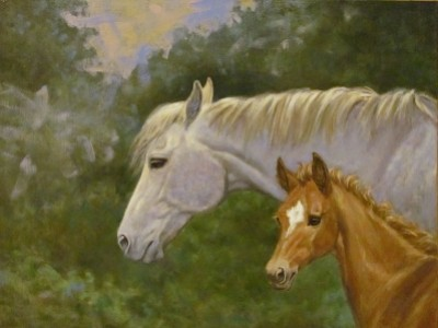 Thoroughbred Mare and Foal by Barbara   Ellis