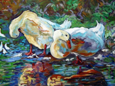 Afternoon Grooming, Ducks IV by Gail Dee Guirreri Maslyk