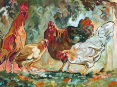 Roosters in the Landscape by Gail Dee Guirreri Maslyk