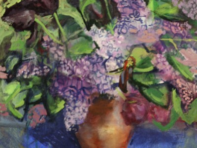 Lilacs and Tulips in Copper Pitcher by Marci Nadler