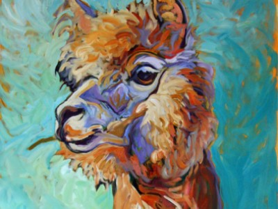 Courageous Sam, an alpaca portrait by Gail Dee Guirreri Maslyk