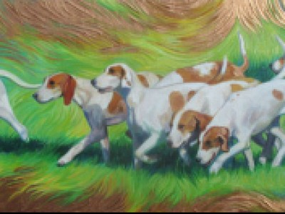 Hounds on Copper Paint