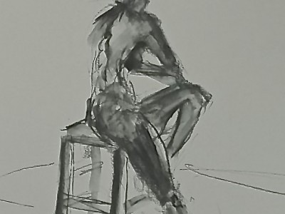 Seated nude study by Barbara A. Sharp